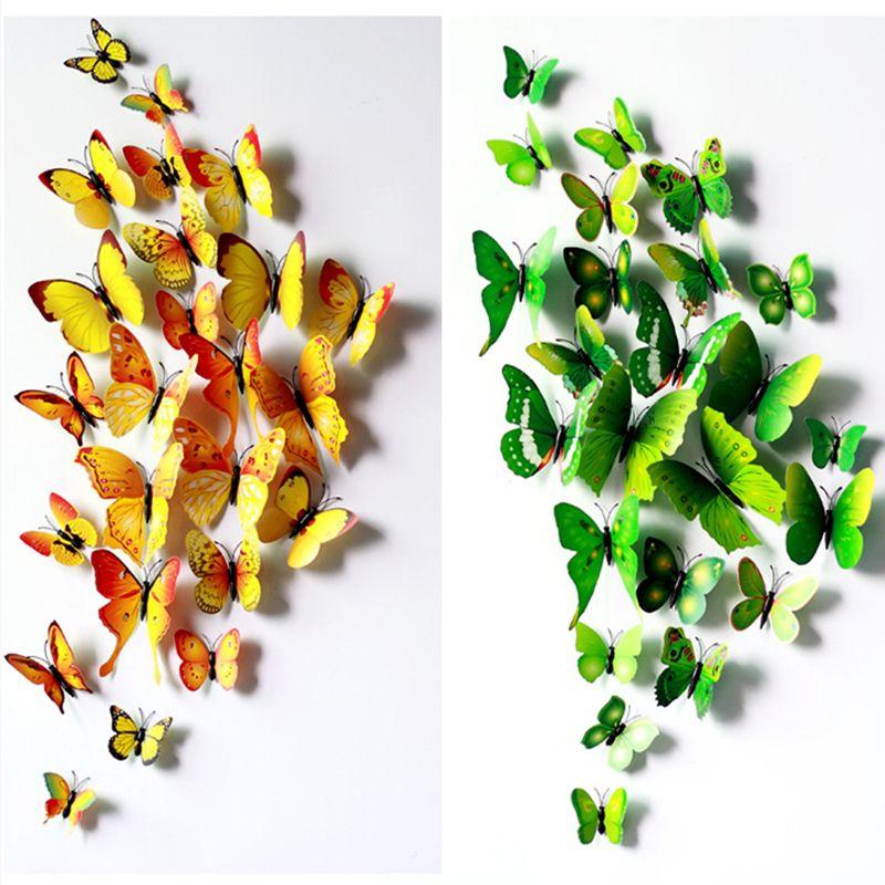 12 Teile/satz DIY 3D Schmetterling Wandaufkleber Steuern Dekor Für  Wohnzimmer, Schlafzimmer, Küche
