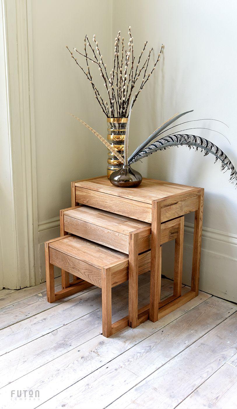 Oak Nest of Wood Tables   Futon Company