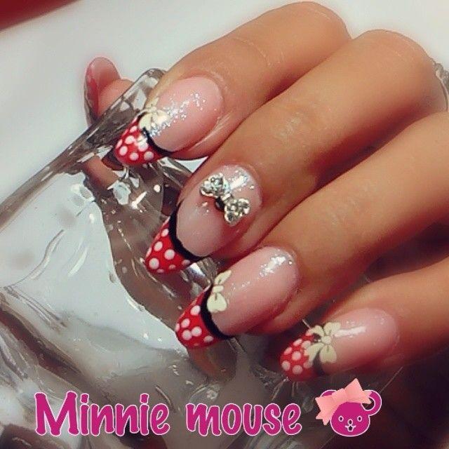 Decoración de uñas de minnie mouse   diseño de uñas   Pinterest