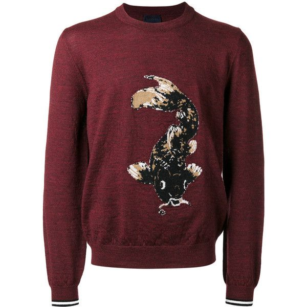 Lanvin intarsia Koi fish jumper (2.620 BRL) ❤ liked on Polyvore featuring men's fashion, men's clothing, men's sweaters, red, mens wool sweaters, mens red sweater and mens woolen sweaters