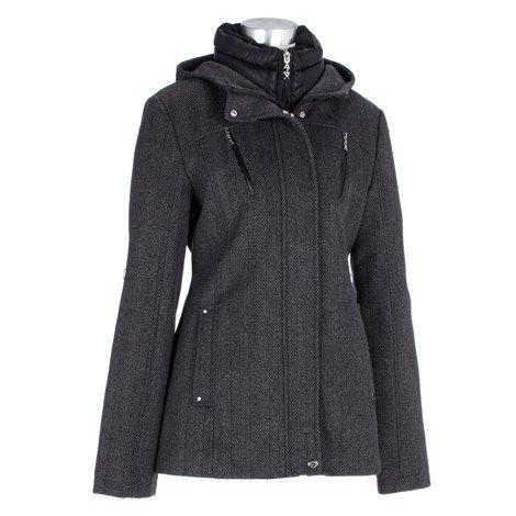 Wool Blend Jacket with Mock Vestee -Plus