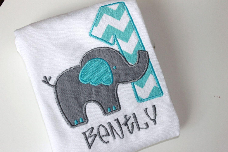 d1b5f011 Aqua Elephant Personalized Birthday Shirt or by ButuzaBabyDesigns, $24.95 -  for Aydan's first birthday??