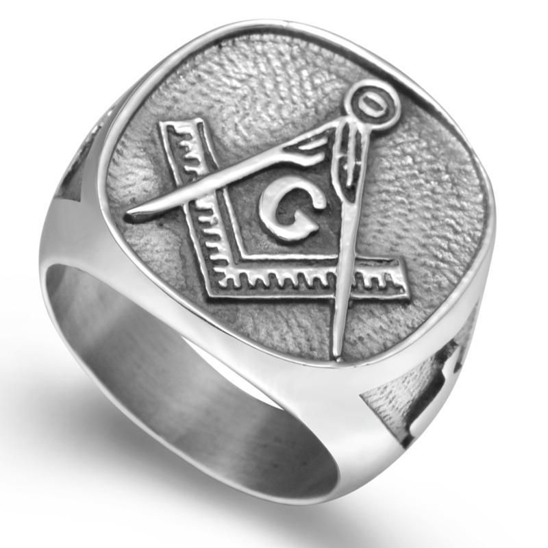 MasonicMan Square and Compass on Bible Stainless Steel Ring in Gift Pouch