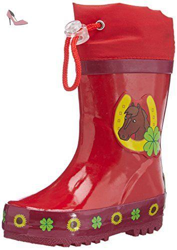 Playshoes Gummistiefel Pferde, Bottes Fille - Rouge (original 900), 32/33