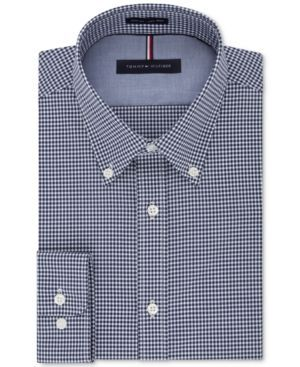 5bd35c67 Tommy Hilfiger Men's Big and Tall Soft Touch Slim-Fit Non-Iron Gingham Dress  Shirt - Blue 17.5 37/38