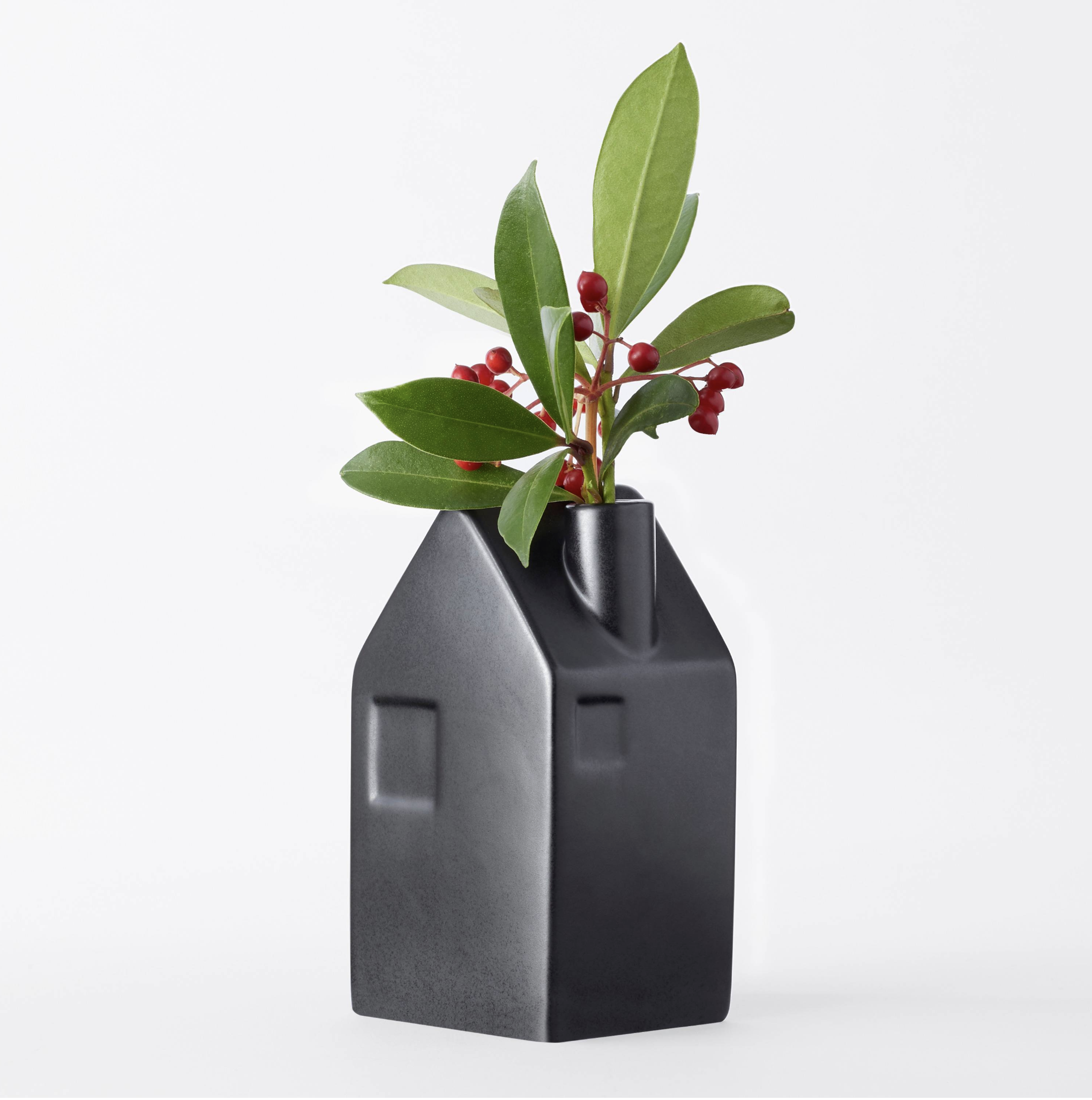 House Shaped Black Stoneware Vase From Chip And Jos Hearth And