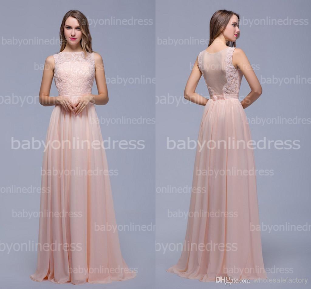 Wholesale chiffon lace bridesmaid dresses appliques crew neck