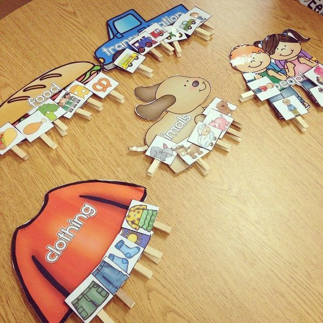 Classroom Workstation Ideas ~ Basic category sorting clothespin tasks therapy speech