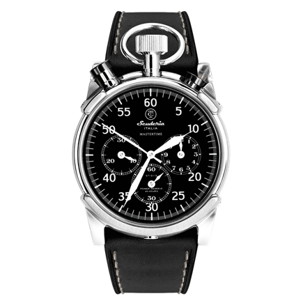 CT Scuderia / Stainless Steel and Genuine Black Leather Strap