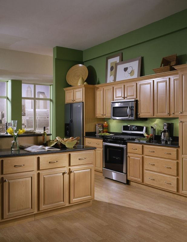 Cabinets Maple Kitchen, Painted Green Maple Kitchen Cabinets