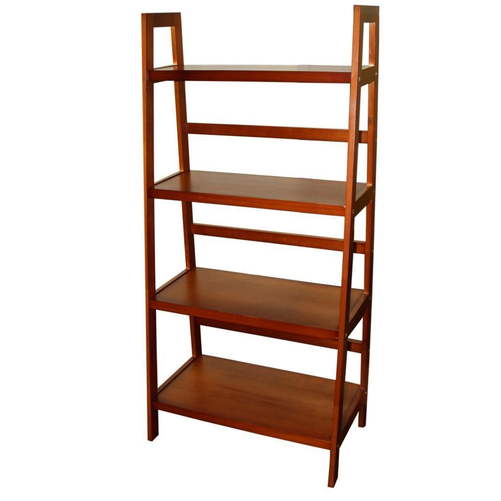 Tier wooden ladder shelf shelves home and bookcases