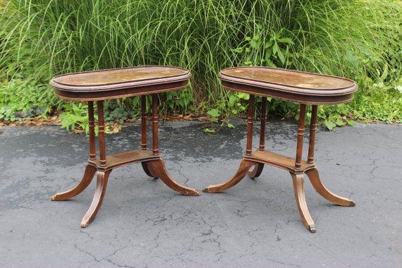 Vintage Antique Cherry Wood End Tables by TreasureHut on Etsy