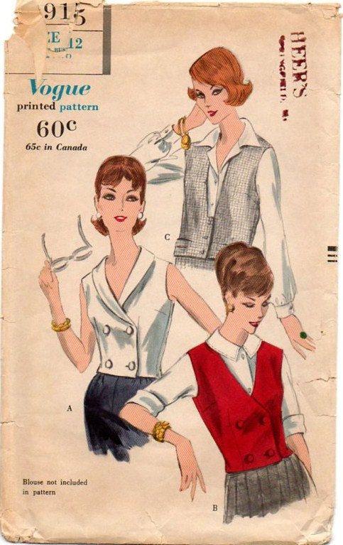 1950s Blouse & Vest Pattern ~ Double Breasted ~ V-Neckline ...