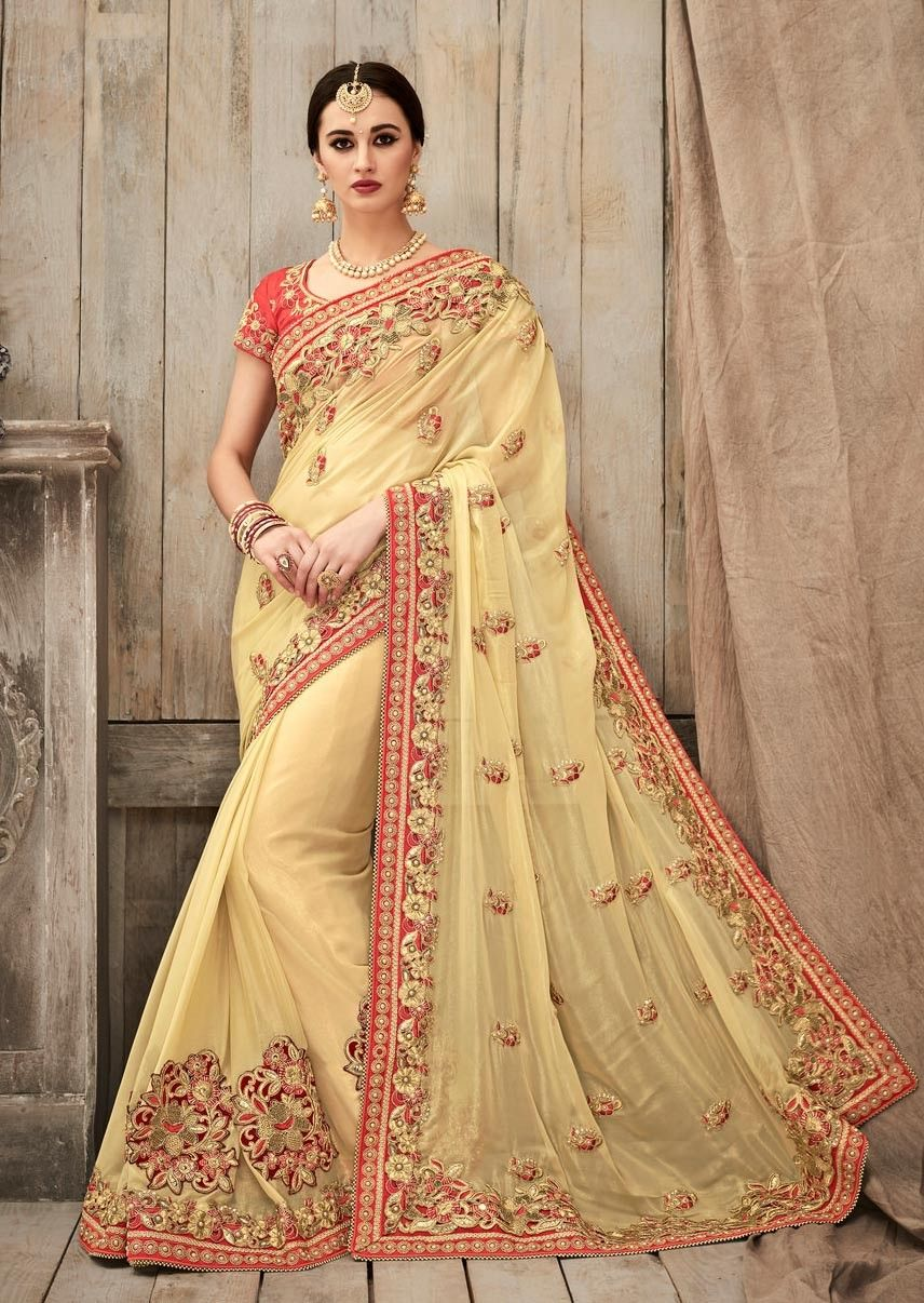 b3a7b825b6b3d Cream party wear Indian fashion art silk sari with contrast red blouse