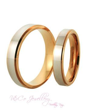 Cincin Kawin Emas Rosegoldputih Plain Dsign Nikah Wedding Ring Jewellery