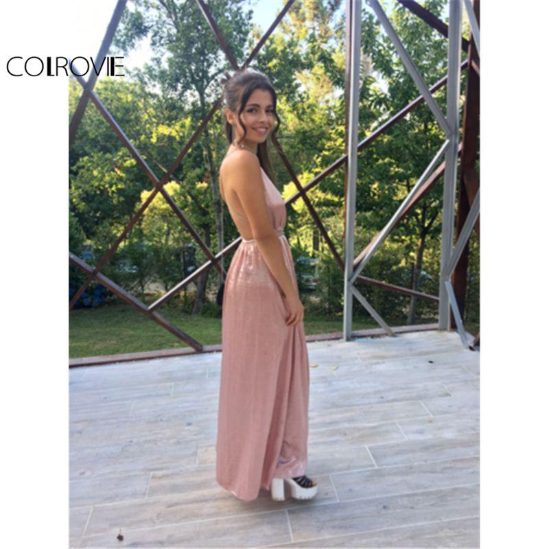 648e15d67f Maxi Party Dress Women Pink Plunge Neck Sexy Cross Back Wrap High Slit  Summer Dresses Elegant