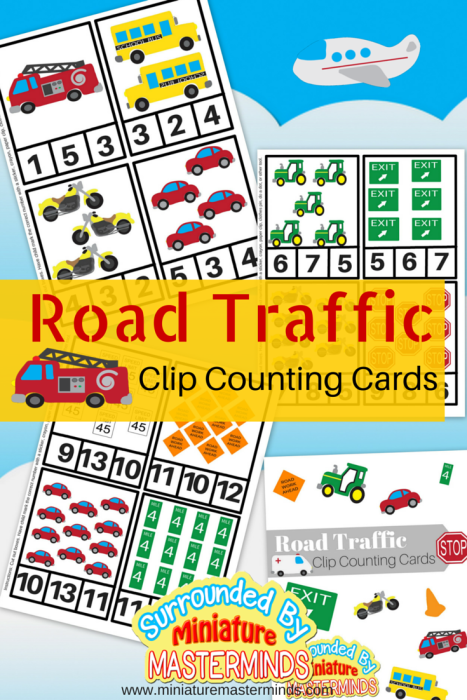 Free Printable Road Traffic Clip Counting Cards 112