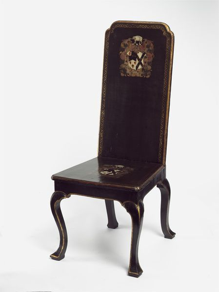 """1725-1730 British Hall chair at the Victoria and Albert Museum, London - From the curators' comments: """"Hall chairs, arranged around the walls of an entrance hall, were intended for the occasional use of waiting servants but not for comfort. They typically displayed the arms of the house's owner. However, the original owner of this chair is unknown, for the arms have been altered [in 1762]."""""""