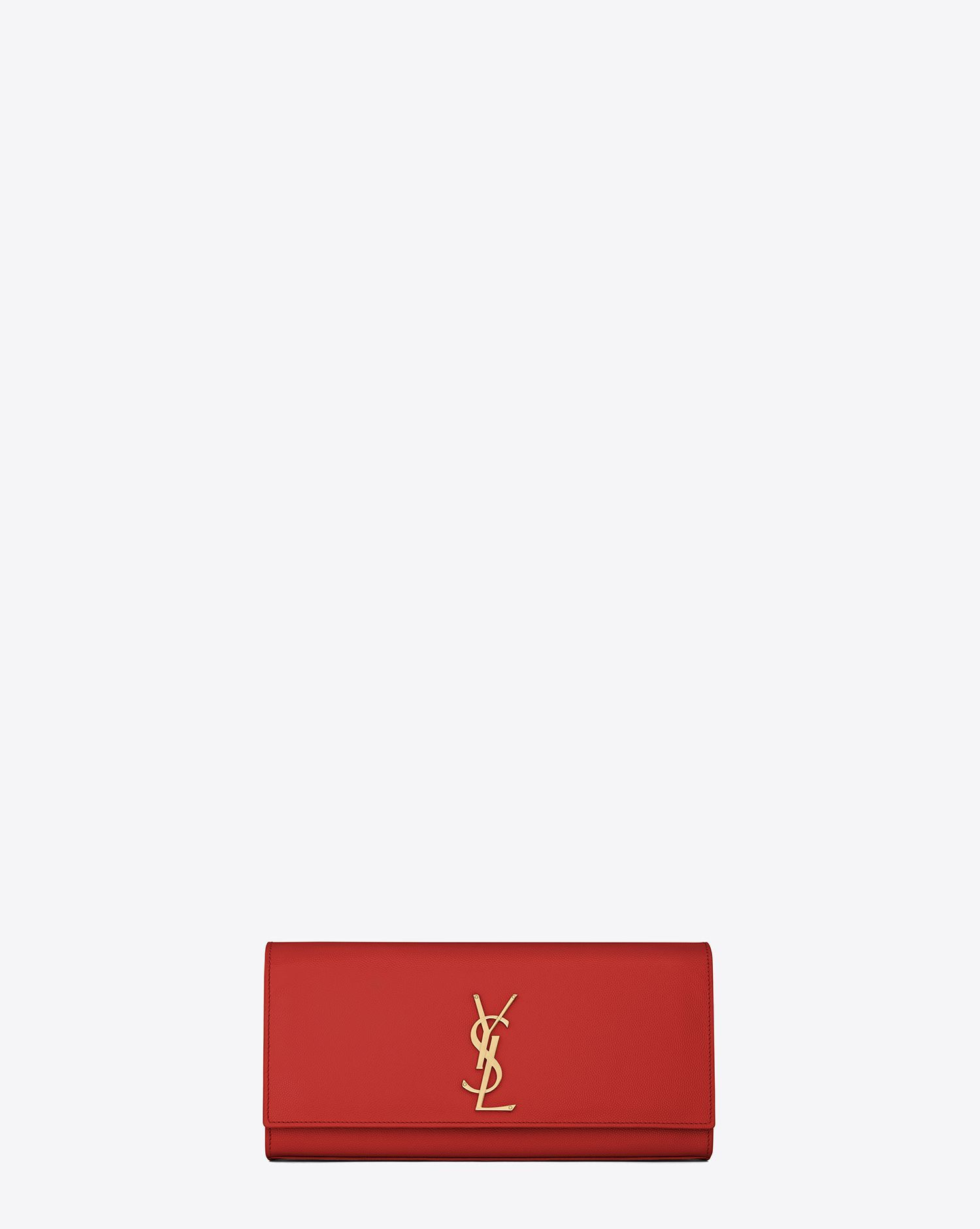 Saint Laurent Classic Monogramme Saint Laurent Clutch In Lipstick Red Grain De Poudre Textured Leather - ysl.com