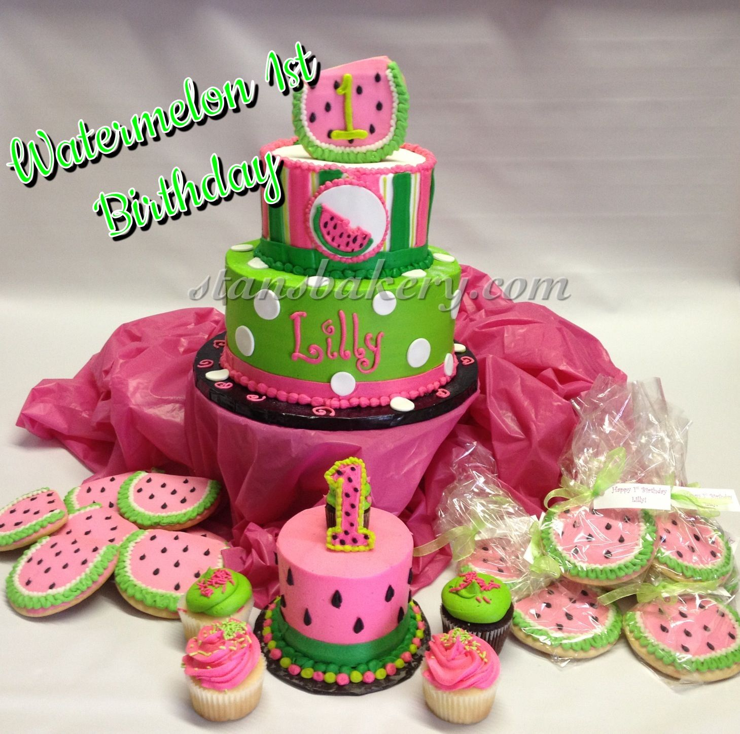 Watermelon First Birthday Cake