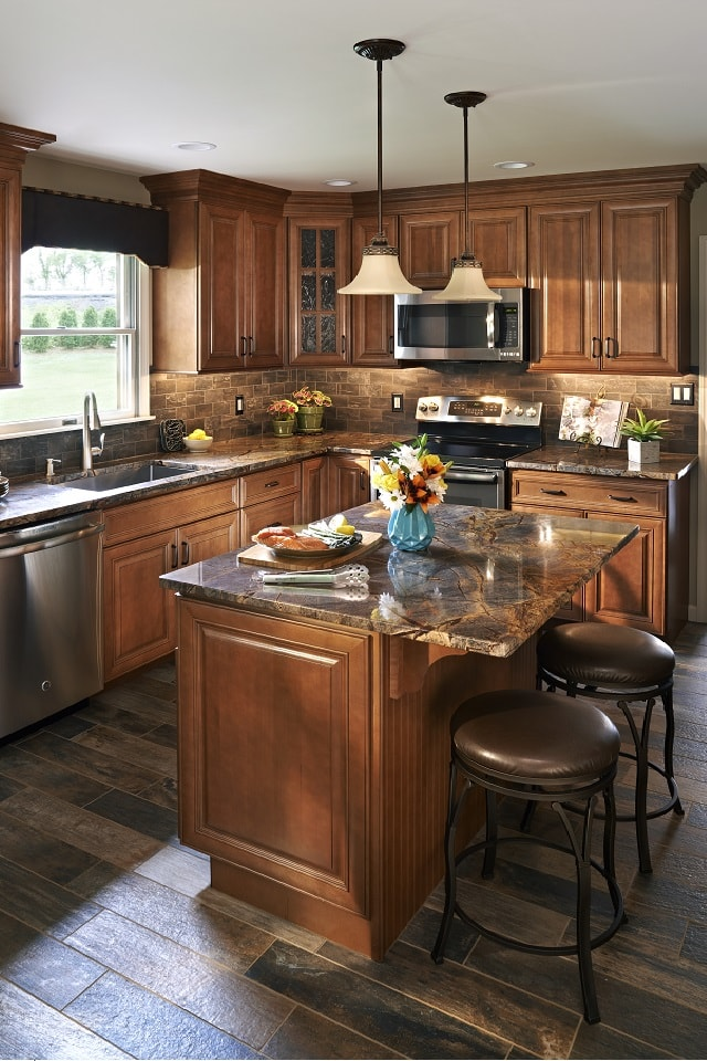 Wolf Classic Cabinets in Heritage Brown Stain with ...