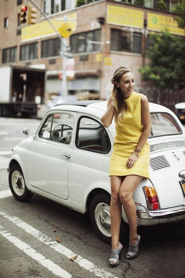 Yellow Woman Fiat 500 Vintage Fiat 500 Best Luxury Cars