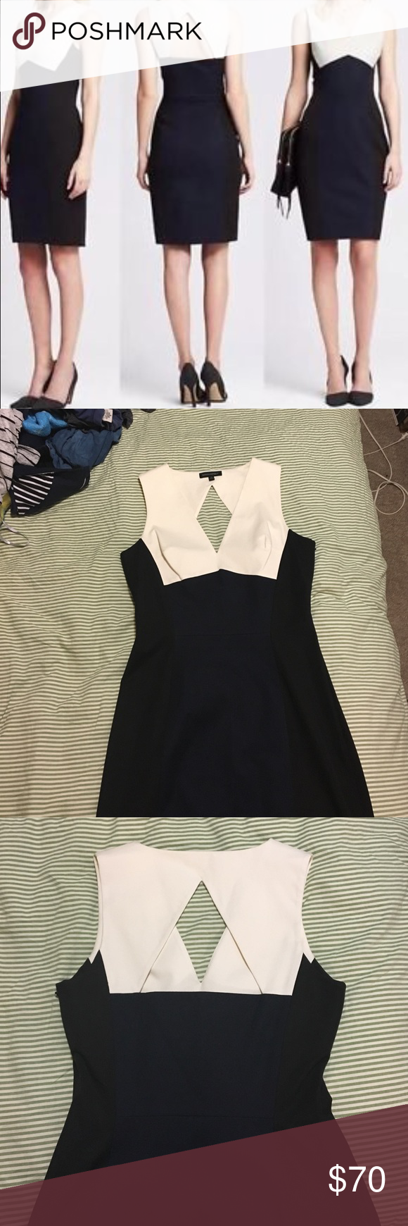 Banana Republic Colorblock Sheath Dress, Sloan Fit Banana Republic Colorblock dress, cut in a deep V in the front with a Triangular cutout in the back.  Perfect for work or upcoming holiday party season.  Side Zip with front and back navy panels, black side panels and white top panels.  Very flattering, bodycon fit in the style of the classic Sloan dress.  Never worn, size 14. Banana Republic Dresses Midi