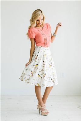 Pink Yellow Skirt Modest Skirt, Spring Dresses, Church Dresses ...