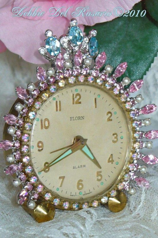 Breathtaking Pink Vintage Florn Jeweled Alarm Clock by Debbie-Phinney, Walker, Clock, Vintage, Pink, Rhinestones, Alarm, Vintage, Victorian,