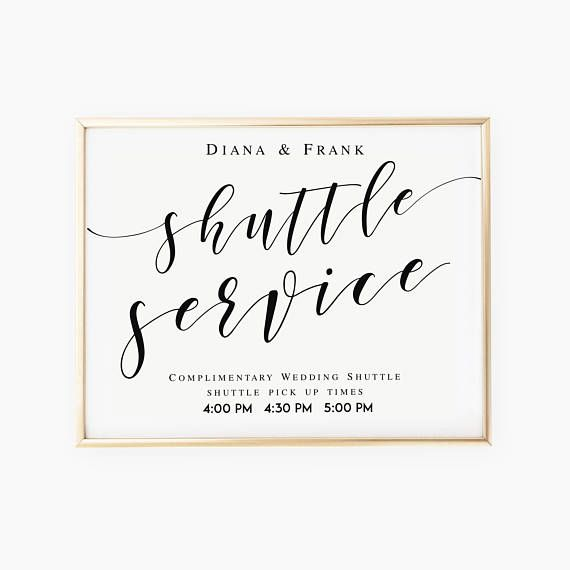 shuttle service wedding sign template wedding shuttle sign template