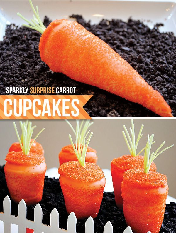 Surprise Carrot Cupcakes baked in icecream cones!  Too cute!