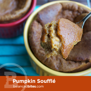 Pumpkin Soufflé - pumpkin, eggs, coconut oil, almond butter, maple syrup, vanilla, coconut flour, baking soda, cinnamon, pumpkin pie spice, salt