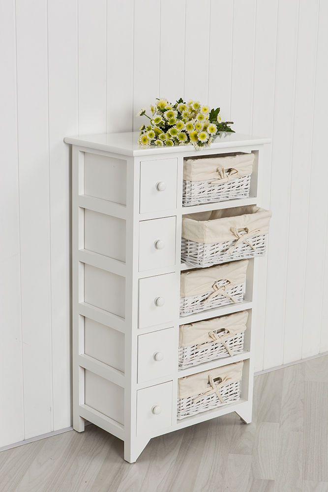 White Wooden Storage Unit With Wicker Baskets Bedroom Storage Bathroom Storage Bedroom Storage Wooden Storage Wicker Baskets