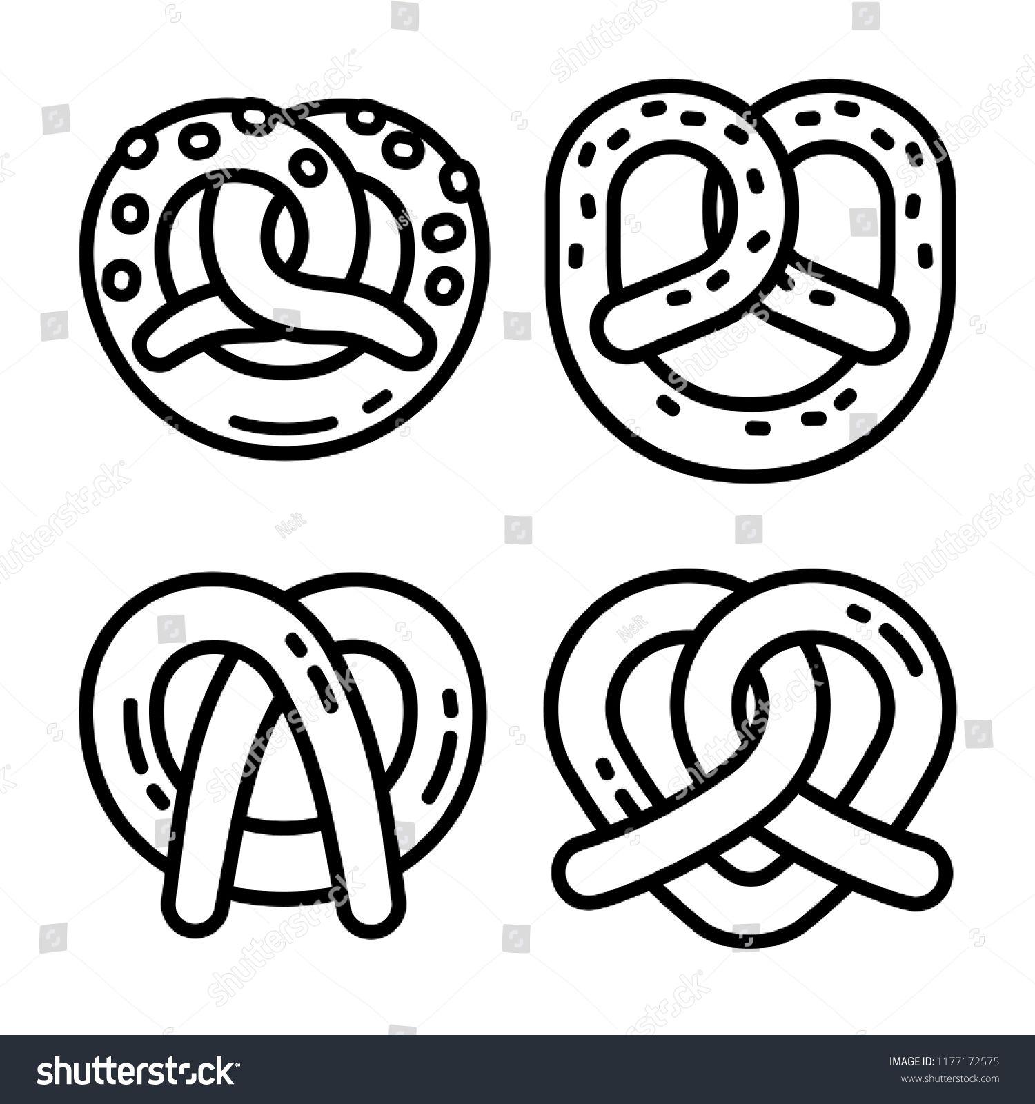 Bavarian Pretzel Icon Set