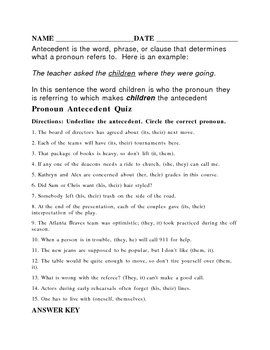 Antecedent worksheet or quiz with answer key | World History ...