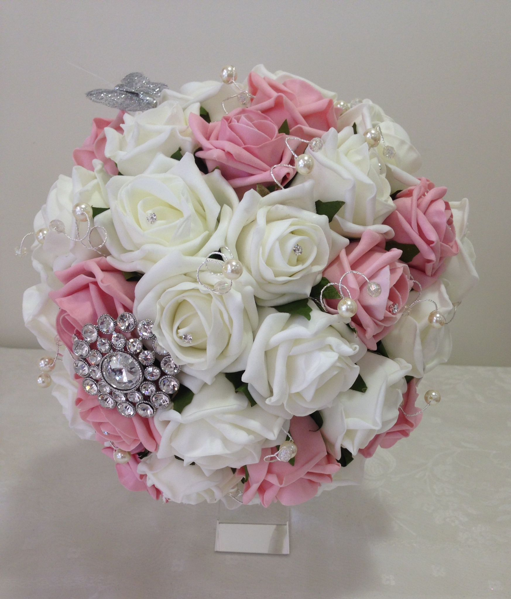 Brides Posy Of Dusky Pink And Ivory Foam Roses With Marcasite