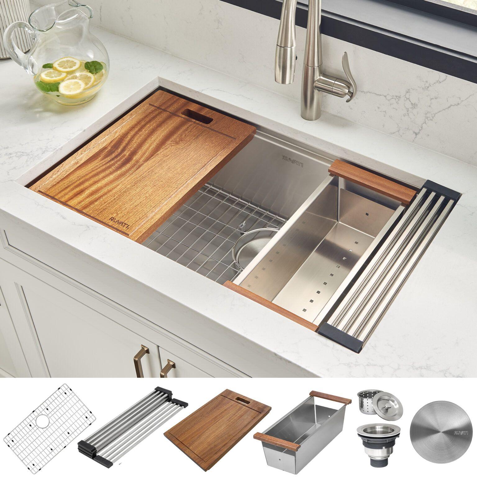 28 Inch Workstation Ledge Undermount 16 Gauge Stainless Steel Kitchen Sink Single Bowl Ruvati Usa Stainless Steel Kitchen Sink Stainless Steel Ledge Ledge Kitchen Sinks