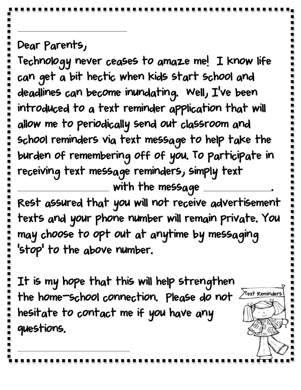 Forever in Kinder Remind 101 Parent Letter School