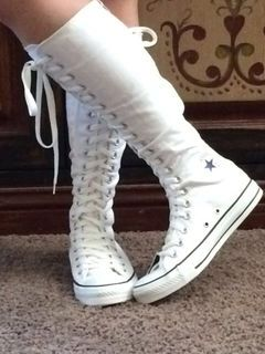My 3rd pair of white knee high converse! I wear this usually at home and  for sleeping! 9eee79010