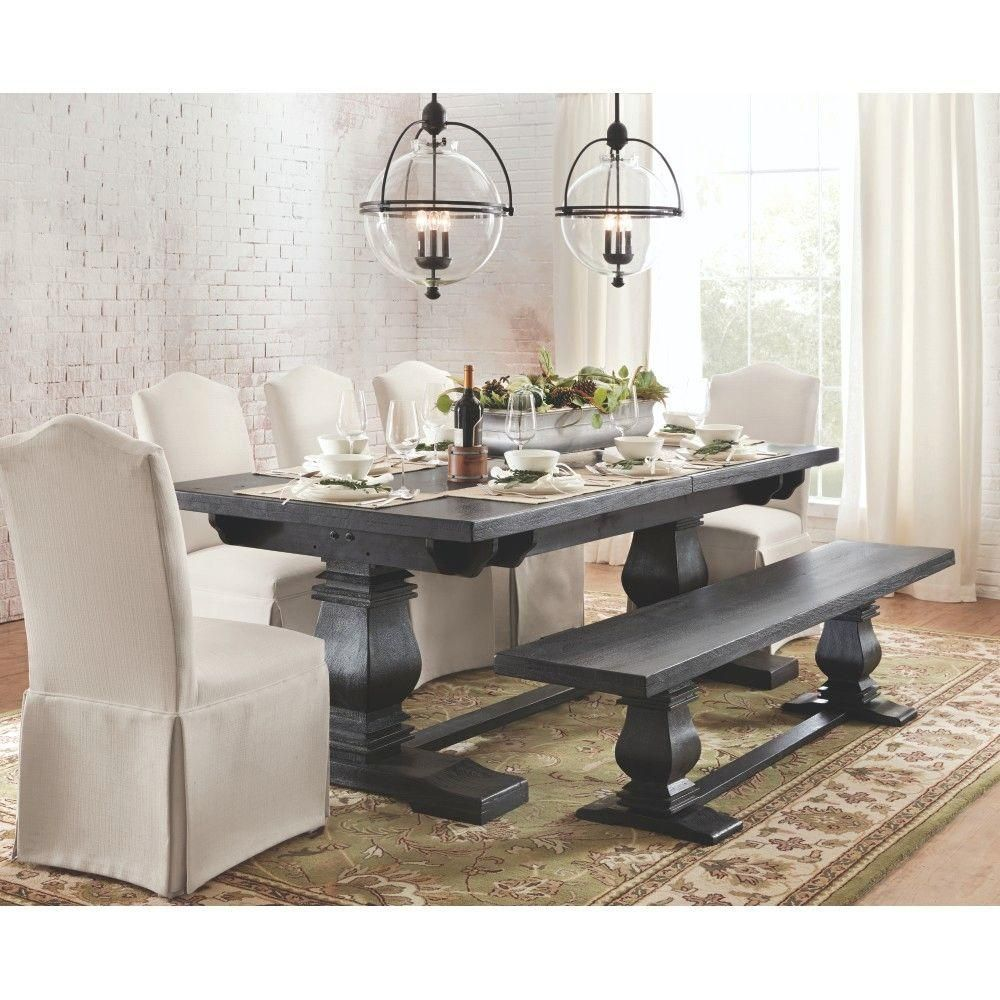 Room Home Decorators Collection Aldridge Washed Black Extendable Dining Table 1673000910