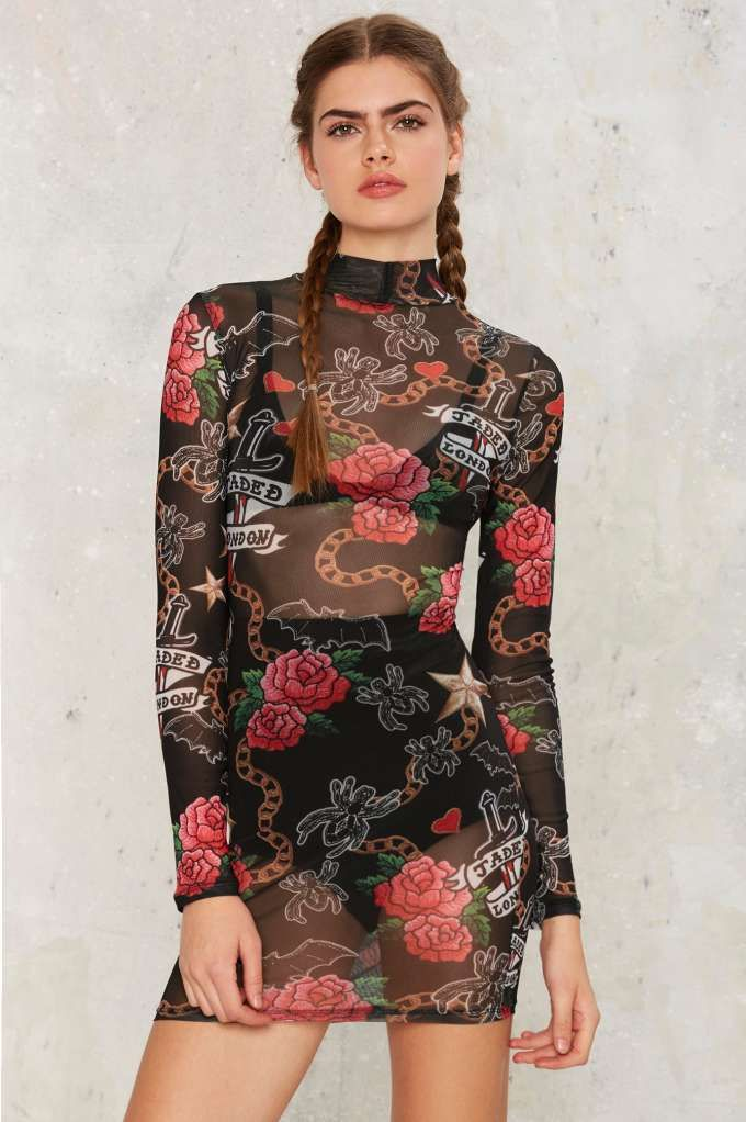 Jaded London Rose Mesh Dress - Sale: Newly Added | Sale: 40% Off | Streetwear | Bodycon Dresses | Dresses