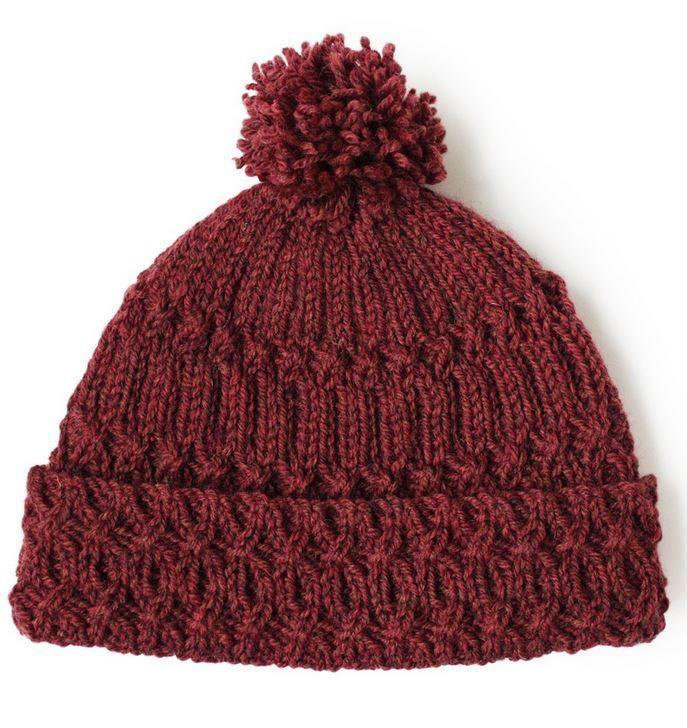 Marsala Pom Pom Knit Hat Pattern | Gorros, Tejido y Gorros para dama