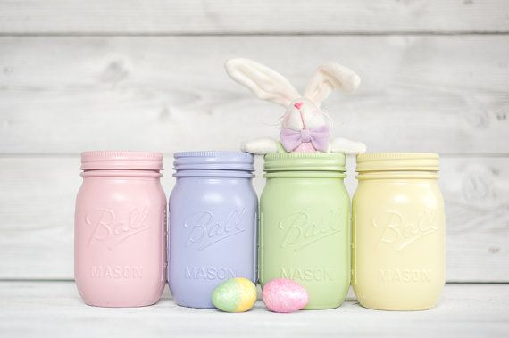 Spring color painted mason jars Easter decor by KAStylesMasonJars