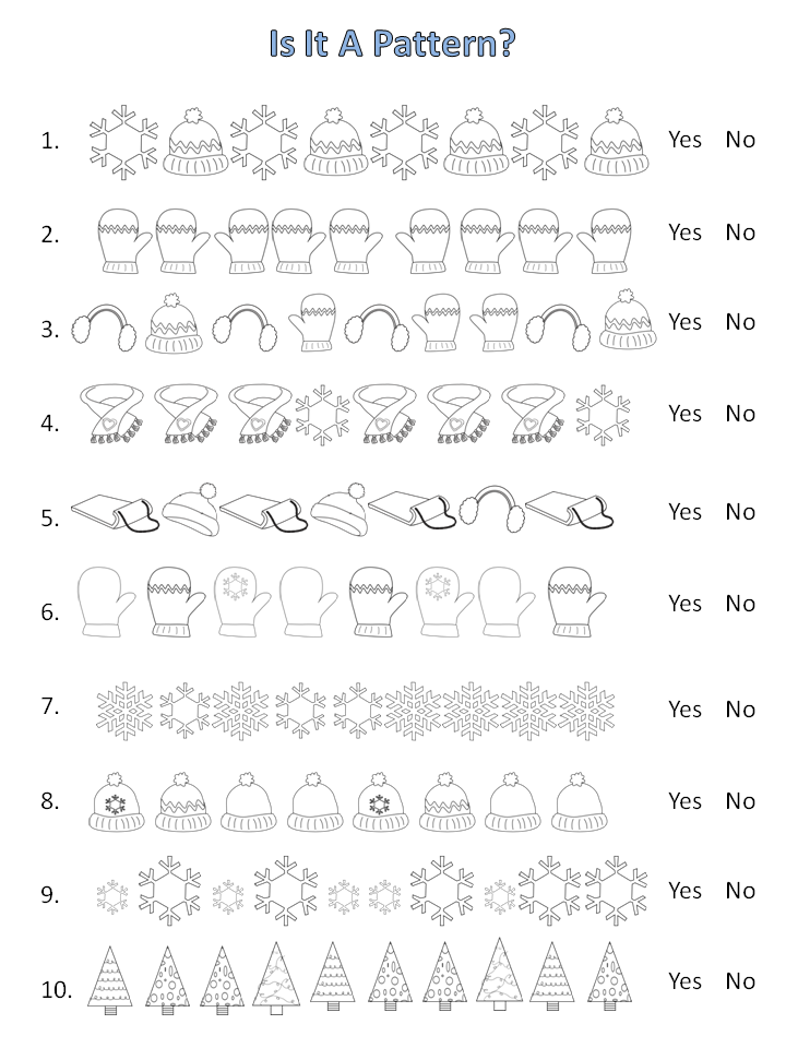 patterning worksheets winter crafts kindergarten math school worksheets patterning. Black Bedroom Furniture Sets. Home Design Ideas