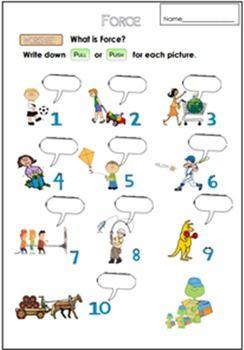 Force Worksheet For G 1 3 Science Kindergarten Worksheets Worksheets Worksheets For Kids