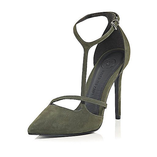 Green suede asymmetric court shoes - heels - shoes / boots - women