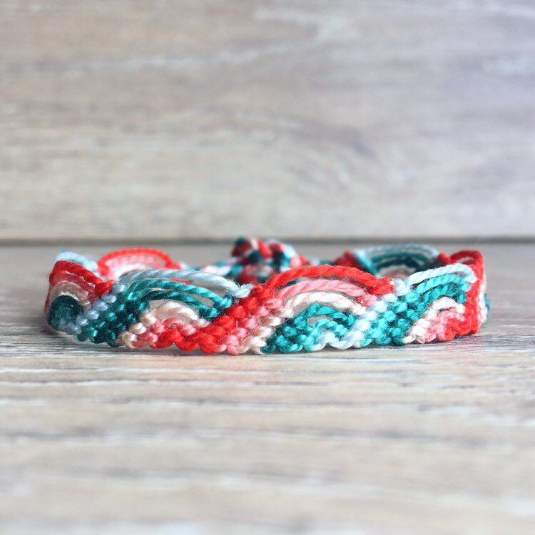 Colorful wave friendship bracelet teal and red cotton macrame