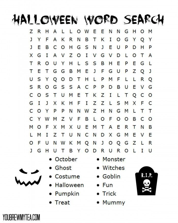Free Printable Halloween Word Search   Halloween Word Search