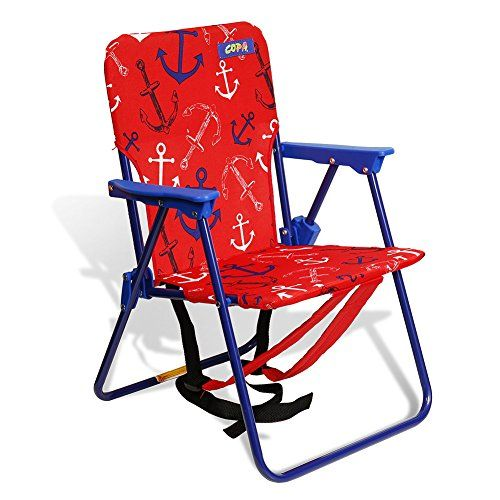 Copa Beach Anchor Print Child Chair Recommended Ages Years Old Max Weight Capacity 50 Lbs Folds Flat For Easy Storage And Carrying Padded Backpack