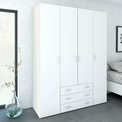 SPACE Armoire chambre adulte style contemporain - Blanc brillant - L ...